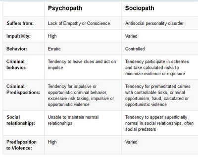 Psychopathic Versus Sociopathic Personality